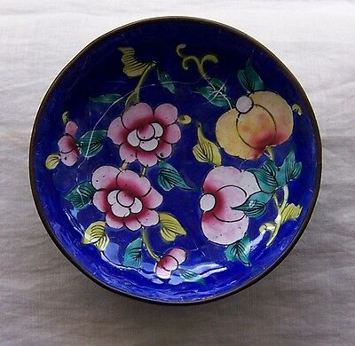 "Antique Porcelain Enamel Over Brass Cobalt Blue & Flowers Small 3 1/4"" Bowl"