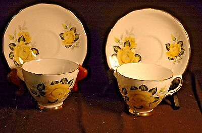 Colclough Yellow Roses Cup and Saucer -2