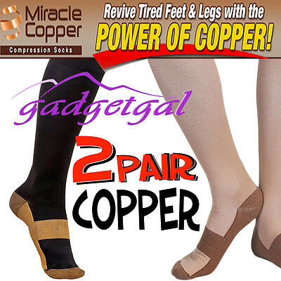 2 Pr Compression COPPER infused MIRACLE SOCKS, Varicose Veins, Flight, Travel