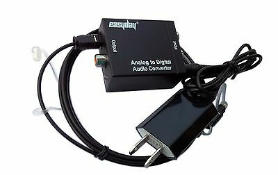 Analog RCA L/R to Digital Optical Coax Audio Converter Adapter with Fiber Cable