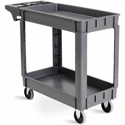 "Plastic Utility Service Cart 550 LBS Capacity 2 Shelves Rolling 39"" x 17"" x 33"""