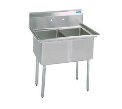 """BK Resources Two 24""""x24""""x14"""" Compartment Sink with Stainless Steel Legs"""