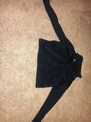 NWT capezio Girls Xl Black Crop Zip Up Warm Up Jacket