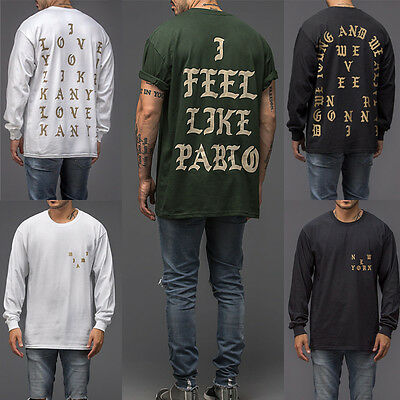 New Kanye West The Life of Pablo Mens T-shirt Yeezy Yeezus Paris Tee Tops Unisex