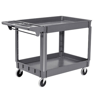 "Plastic Utility Service Cart 550 LBS Capacity 2 Shelves Rolling 46"" x 25"" x 33"""
