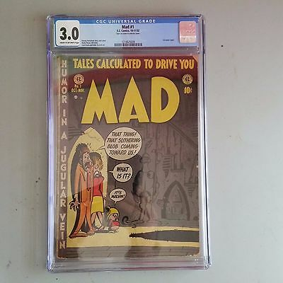 Mad #1 (1952) CGC 3.0 gd+ KEY 1st Satire EC comic Harvey Kurtzman Alfred Newman