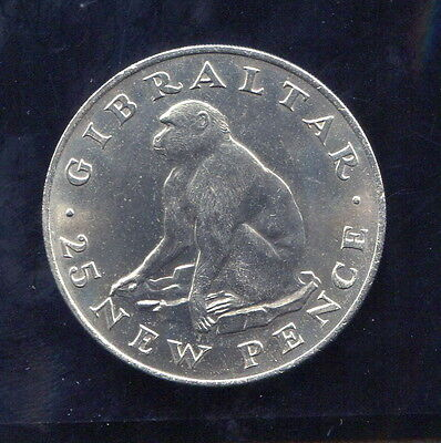 Gibraltar - Fantastic Scarce Barbary Ape 25 New Pence, 1971