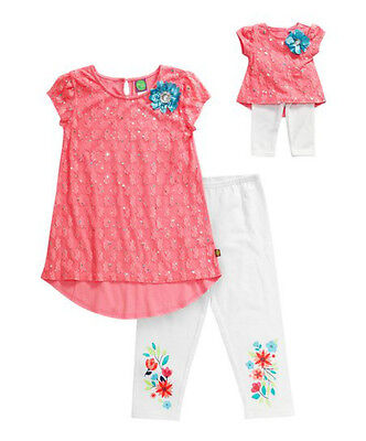 """Dollie & Me Girl 4-14 and 18"""" Doll Matching Coral Tunic Outfit American Girl"""
