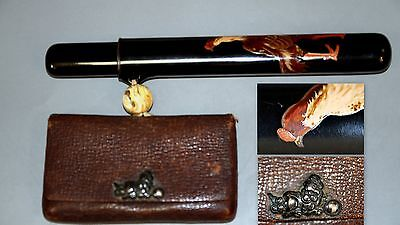 "Antique Japanese Tabacco Pouch & Gold Lacquered Kiserucase""game Cock"""