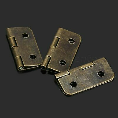 12Pcs Antique Brass Cabinet Door Hinge Jewelry Wooden Box Drawer Hinges Hardware