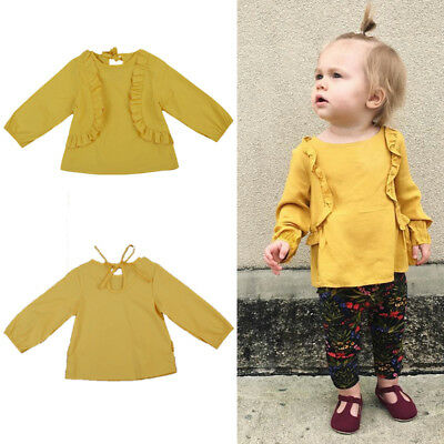 Toddler Baby Girls Ruffle Tops Blouse Kids Long Sleeve T-shirts Sweet Clothes