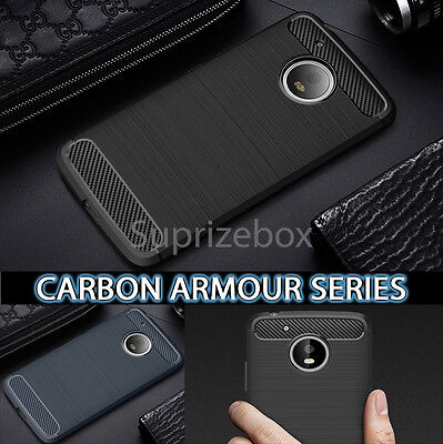 New ShockProof Silicone Carbon Rugged Case Cover for Motorola Moto G5 G6 Play