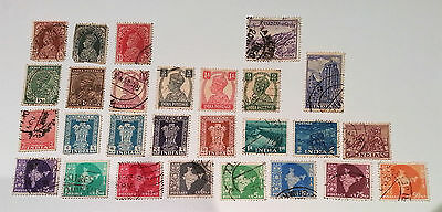 Bundle - Old India Stamps 26 Used Postage Stamps + 1 Pakistan Stamp