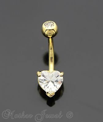 7Mm Heart Double Simulated Diamond 14K Yellow Gold Triple Plate Belly Navel Ring