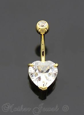 10Mm Heart Simulated Diamond 14K Yellow Gold Triple Plate Belly Navel Ring