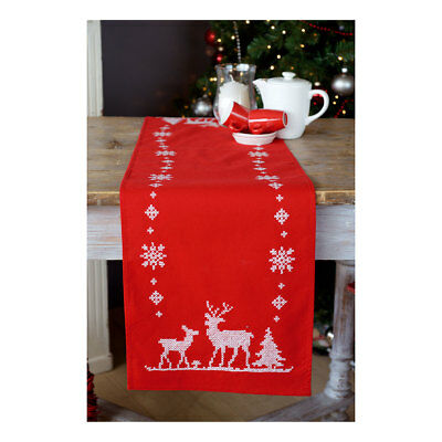 Vervaco Embroidery Kit Table Runner | Christmas Deer on Red | Size30x105cm