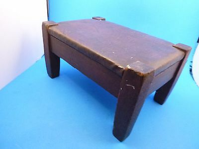Antique Unsigned Stickley Leather Mission Fumed Oak Wood Arts & Crafts Footstool