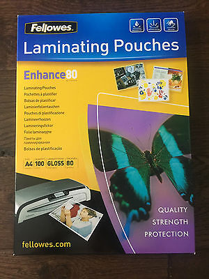 Fellowes Laminating Pouches A4 80micron 100 Pack