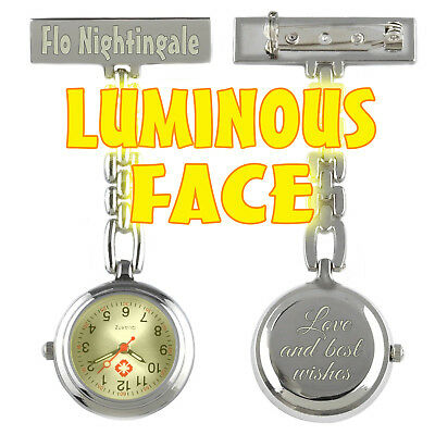 Beautifully Engraved Luminous Nurse Fob Watch with FREE SPARE BATTERY
