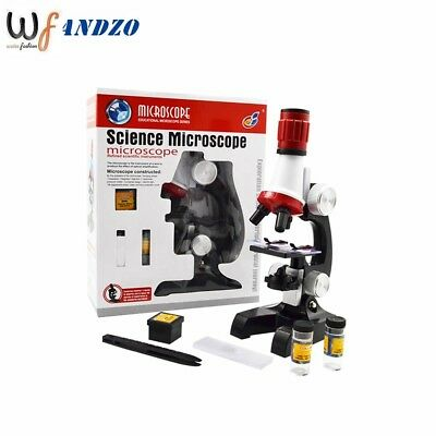 Science Microscope Kit for Children 100x 400x 1200x Refined Scientific Toy Set
