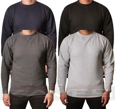 Mens Plain Sweatshirt Jersey Jumper Sweater Pullover Work Casual Leisure Top Lot