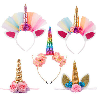 Baby Shower Kid Girl Unicorn Headband Crown Hair Band Birthday Party Decoration