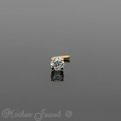 20G 14K Yellow Gold Ip 3Mm Simulated Diamond L Shaped Bent Bend Unisex Nose Stud