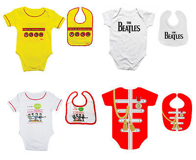 Beatles Baby Grow Official Babies Outfit Romper Suit or Bib 3-18 Mths 4 Designs