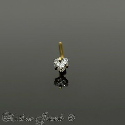 18G 14K Yellow Gold Ip 3Mm Simulated Diamond Heart L Shaped Bent Nose Stud