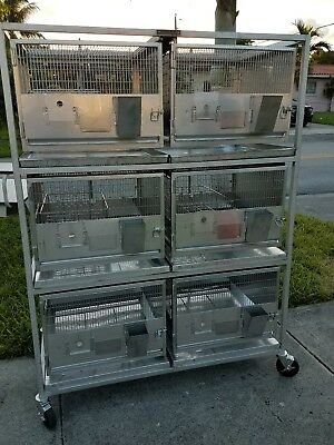(6) Lab Vet Veterinary St. Steel Animal Rabbit Cat Dog Crate Cage System Rack