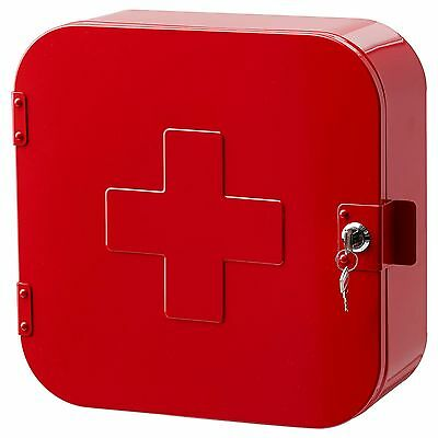 Gunnern - lockable cabinet ikea / red - medicine metal box