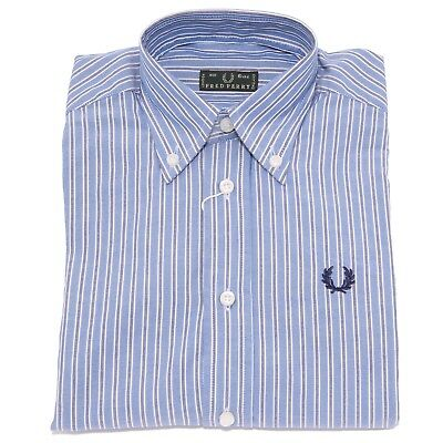 3535T camicia bimbo FRED PERRY manica lunga blu shirt long sleeve kid