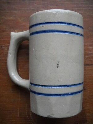Antique Blue Band Banded Stoneware Pottery Mug