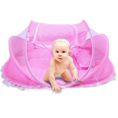 Baby Bed Cot Child Crib Foldable Portable Mosquito Net Mattress Pillow Pink UK