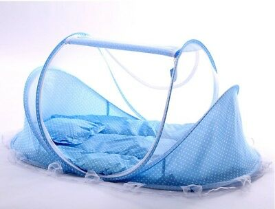 Baby Bed Cot Child Crib Foldable Portable Mosquito Net Mattress Pillow Blue UK