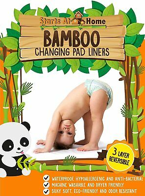 "Bamboo Changing Pad Liners - ULTRA STRONG GRIP- NOT BULKY - 13"" x 26"" - Premium"