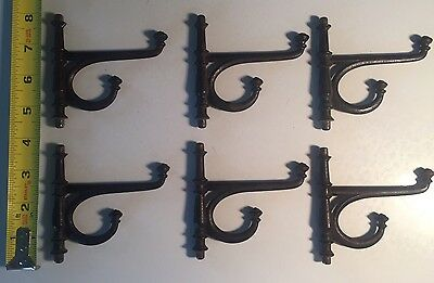 Lot Of 6 Cast Iron Vintage Old School Coat/scarf Hooks - Parts Repair