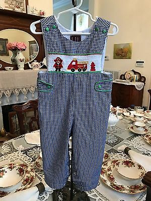 """Lil Cactus Infant Boys Smocked Long all size 18-24 months """"Fireman/Firetruck"""""""