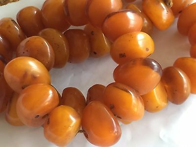 """Gorgeous Antique Chinese Natural Amber Necklace 25""""l"""