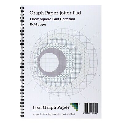 A4 Graph Paper 10mm 1cm Squared Jotter Pad 50 Pages, Grey Grid Lines