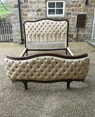 French Double Demi Corbeille Bed BUTTONED