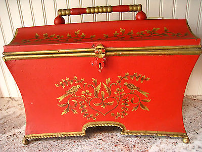 Vintage Hand Painted Red Metal Tole /Toleware Caddy Box -  Chest - SWEET