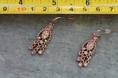 Vintage Rose Gold Pink Clear Stones Dangle Pair of Earrings Estate Find Jewelry