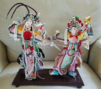 "Vintage Asian Detailed Chinese Costume Dolls Dancing Tableau 11""x11"""