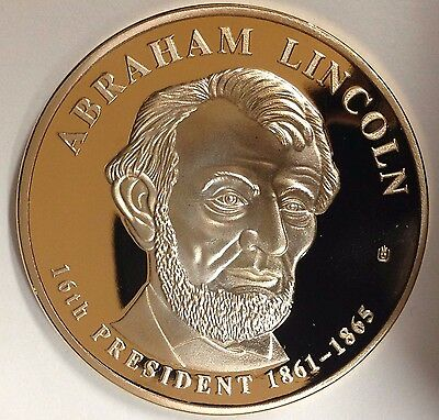 Over Sized Lincoln Dollar 24k Gold Plated Copper Proof