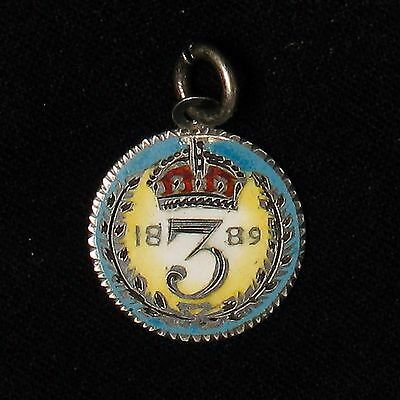 1889 Great Britain Three 3 Pence enameled & colored silver coin pendant jewelry