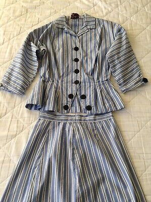 Vintage 1940s 40s WW2 Era Blue And White Striped Summer Suit