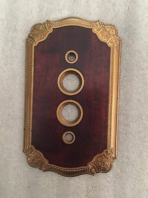 Antique Collectible Luxury Brass  With Wooden Insert  Button Switch Plate Cover