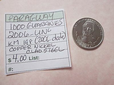 Single coin from PARAGUAY, 1000 guaranies, 2006, UNC, Km 198, (2006-date)