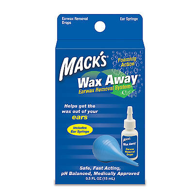Mack's wax Away Earwax Removal System with ear drops and Bulb Syringe